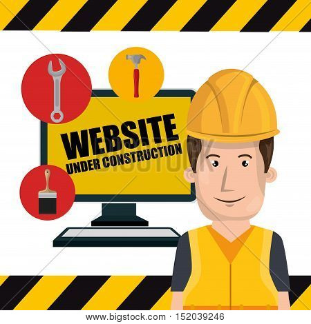 avatar man worker with yellow helmet safety equipment and computer device with tools. website under construction design. vector illustration