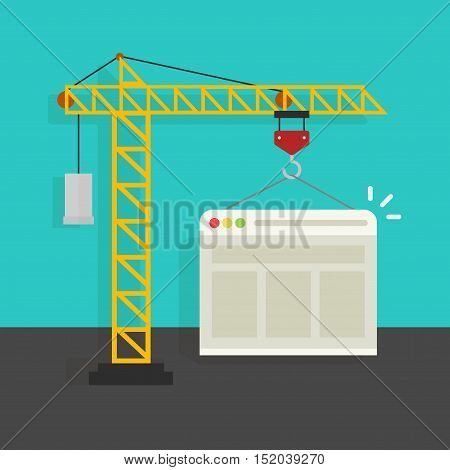 Website building process vector illustration, crane building website, concept of web page developing service banner isolated on color background