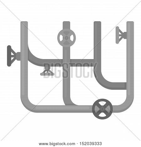 Pipes with valves icon in monochrome style isolated on white background. Plumbing symbol vector illustration.