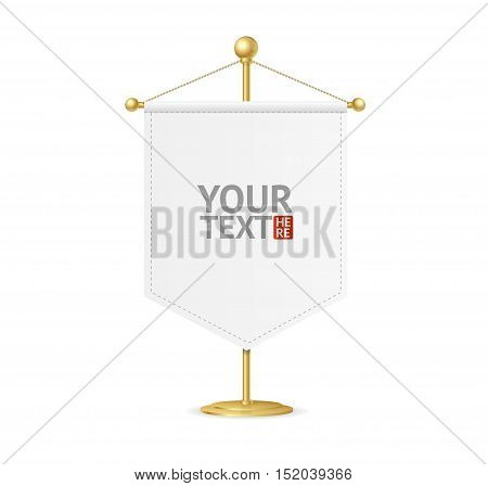 Pennant on Steel Spire Pedestal with Place for Your Text. Vector illustration