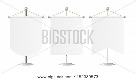 Template White Blank Realistic Pennant on Steel Spire Pedestal Set. Vector illustration