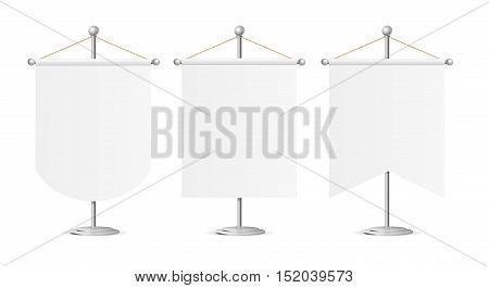 Template White Blank Realistic Pennant on Steel Spire Pedestal Set. Vector illustration