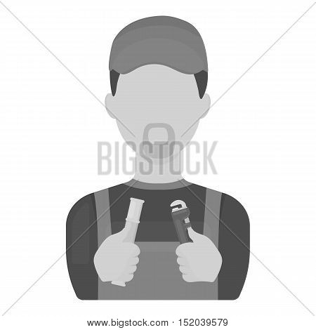 Plumber icon in monochrome style isolated on white background. Plumbing symbol vector illustration.