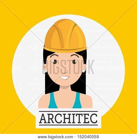 avatar woman smiling architect with  helmet over white circle and yellow background. vector illustration