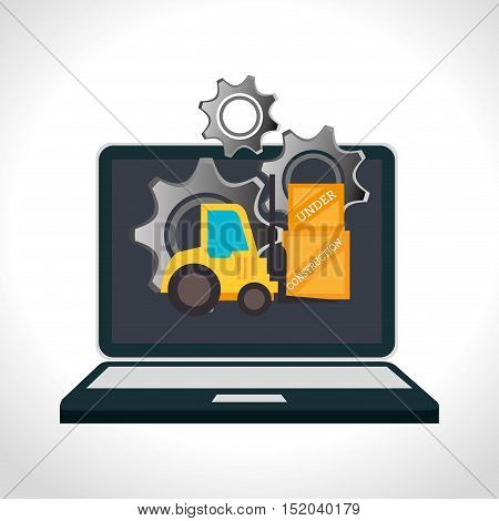 laptop computer device with forklift truck and gears icon over white background. under construction design. vector illustration