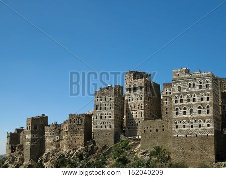 View to Manakha fortress and old city in Yemen