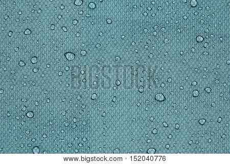 Water drops on a aqua blue background. Abstract background.
