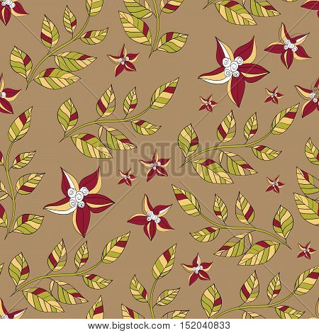 Vector seamless pattern of branches with leaves and flowers. beige green yellow white burgundy. eps8