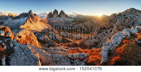 Dolomites mountain panorama in Italy at sunset - Tre Cime di Lavaredo