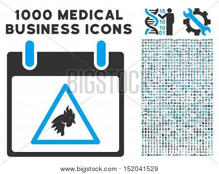 Blue And Gray Rooster Warning Calendar Day vector icon with 1000 medical business pictograms. Set style is flat bicolor symbols, blue and gray colors, white background.