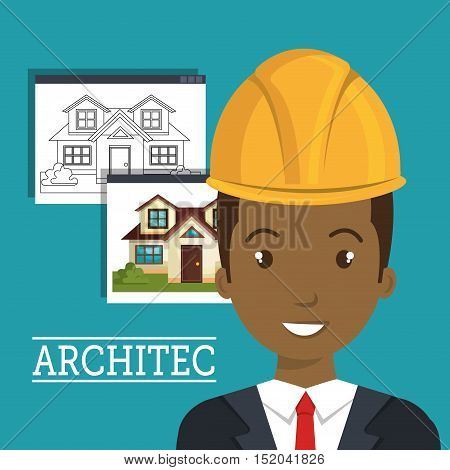 avatar man smiling architect with yellow helmet safety equipment and architecture  construction plans over blue background. vector illustration