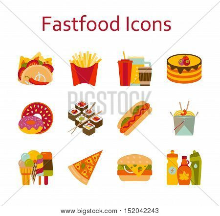 Fastfood and streetfood icons set. Vector illustration.