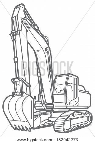 line illustration of a excavator. isolated on white background