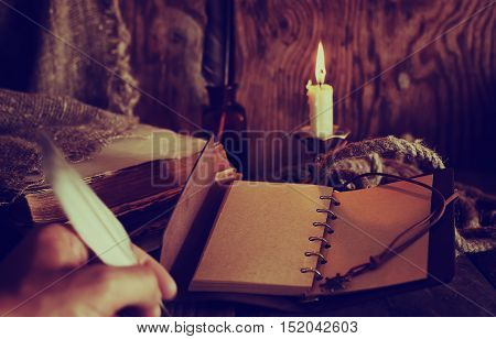 old retro styled composition of book candle and feather