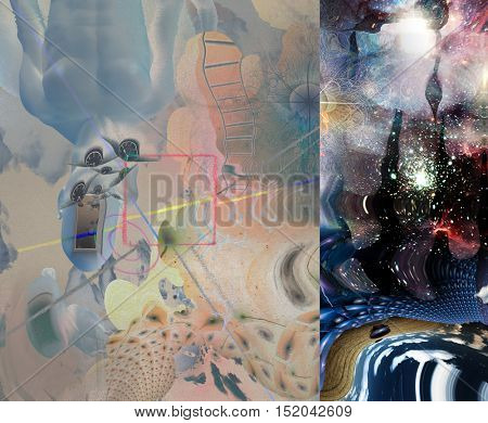 Symbolic abstract painting.  Some elements provided courtesy of NASA  3D Render