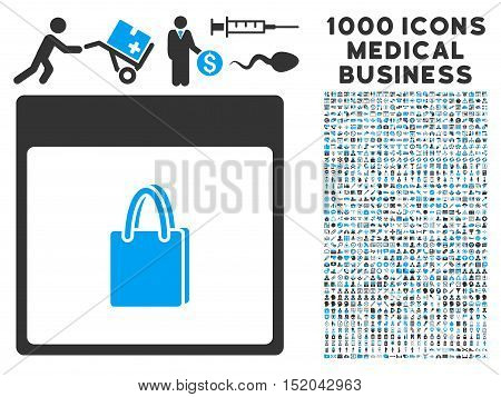 Blue And Gray Shopping Bag Calendar Page vector icon with 1000 medical business pictograms. Set style is flat bicolor symbols, blue and gray colors, white background.