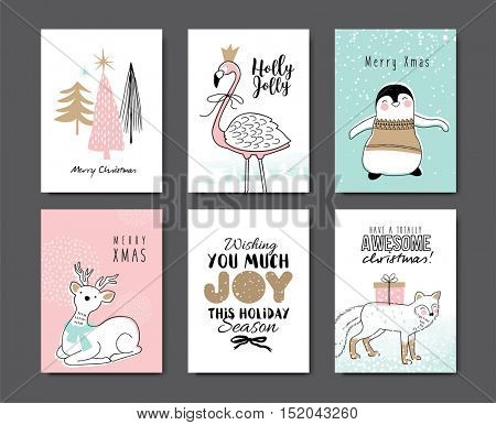 Set of Christmas card with cute animals