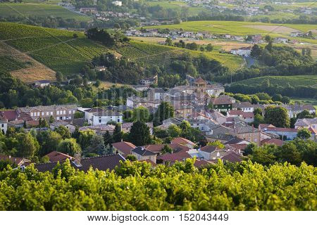 Village Of Salles Arbuissonnas In Beaujolais Land, France