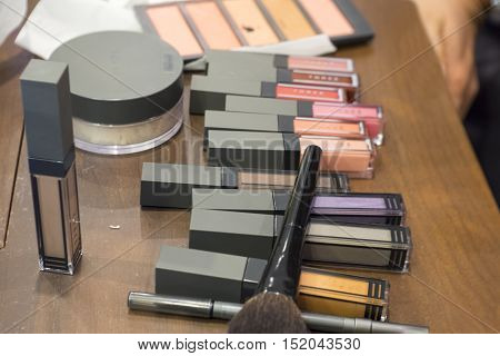 set of decorative cosmetic powder, eye shadow brush
