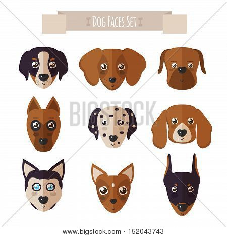 Dog faces set in flat style. Set of Dogs Vectors and Icons. Vector illustration of defferent dog breeds.