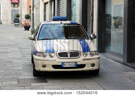 San Remo Italy - October 16 2016: Rover Italian Police Car (Polizia Municipale) Parked On The Street Of San Remo