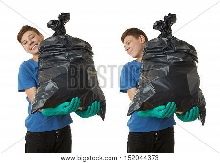Set of cute teenager boy in blue T-shirt and green rubber gloves with garbage bag over white isolated background, half body, cleaning concept