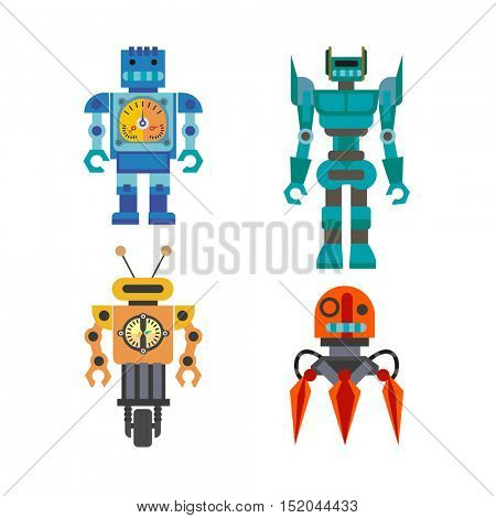 Set of cartoon robots. Machine robot technology, intelligence artificial cyborg, science robotic characters. Vector robot toys illustration isolated on white background.
