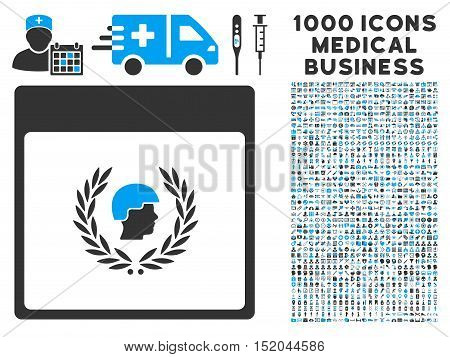 Blue And Gray Soldier Laurel Wreath Calendar Page vector icon with 1000 medical business pictograms. Set style is flat bicolor symbols, blue and gray colors, white background.