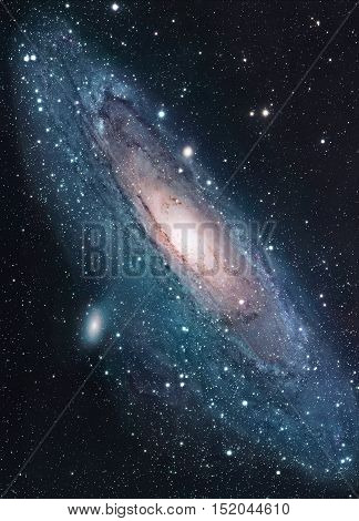 The Andromeda Galaxy, Messier 31, M31 is a spiral galaxy in the constellation of Andromeda. It is the nearest major galaxy to the Milky Way. Elements of this image furnished by NASA.