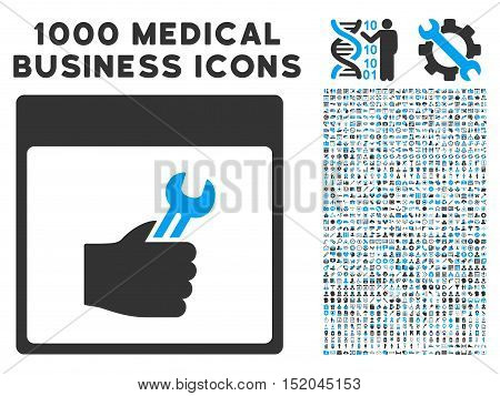 Blue And Gray Spanner Service Hand Calendar Page vector icon with 1000 medical business pictograms. Set style is flat bicolor symbols, blue and gray colors, white background.