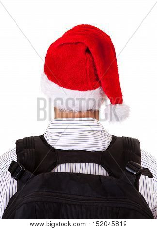Rear View of a Man in Santa Hat Isolated on the White Background
