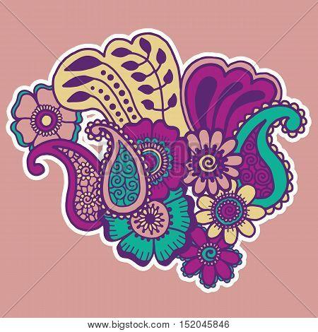 Mehndi design. Floral abstract pattern. Vector illustration