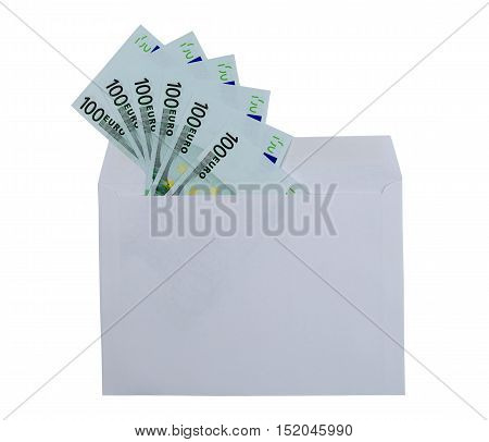 Euro banknotes in envelope isolated over a white background