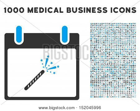 Blue And Gray Sparkler Firecracker Calendar Day vector icon with 1000 medical business pictograms. Set style is flat bicolor symbols, blue and gray colors, white background.