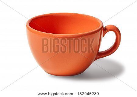 Orange cup empty on white background
