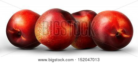 Group of nectarine peach isolated on white background.