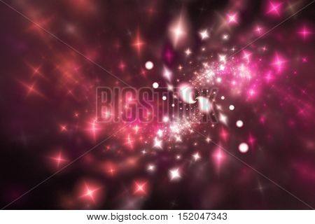 Bright stars. Abstract shining sparks on black background. Fantasy fractal design in pink white and red colors. Digital art. 3D rendering.