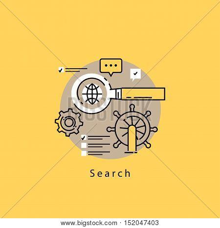 Search engine optimization flat line business vector illustration design banner, SEO background. Application development, web site coding, internet searching optimization, mobile technologies concept