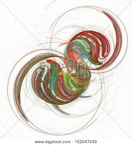 abstract fractal chaotic circles and curves on white background