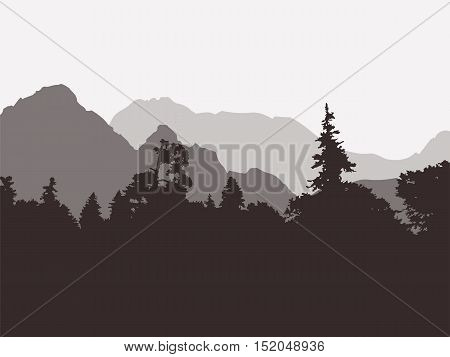 Panoramic view of the forest and mountains. Vector illustration