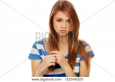 Teenage depression woman sitting on the floor