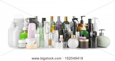 Set of body care products isolated on white