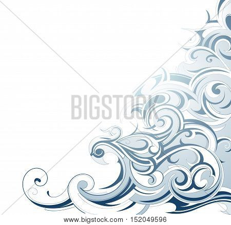 Liquid ornament with waves and water swirls