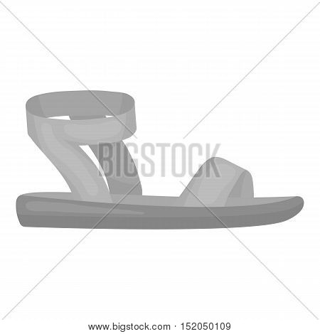 Woman sandals icon in monochrome style isolated on white background. Shoes symbol vector illustration.