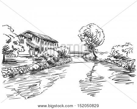 Landscape with house and trees next to river Vector sketch Hand drawn illustration