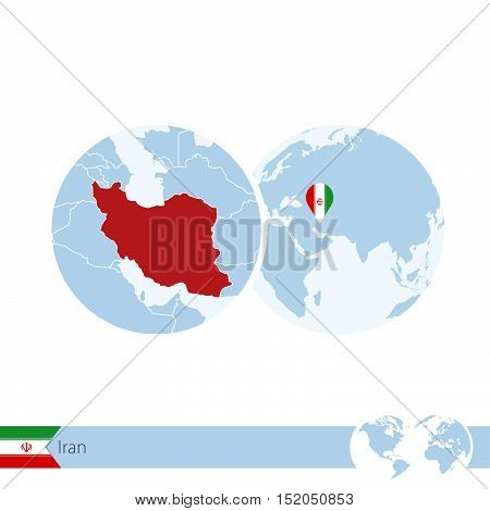 Iran On World Globe With Flag And Regional Map Of Iran.