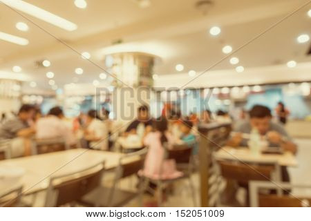 Food court in department store Blur scene background.