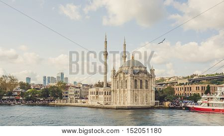Istanbul Turkey - September 10 2016: Ortakoy camii on Bosphorus river of Istanbul.
