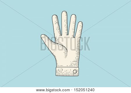 Vintage drawing of hand sign Stop hand gesture in engraving retro style, isolated on color background. Old drawn stop hand for sign, information sign and navigation. Vector Illustration
