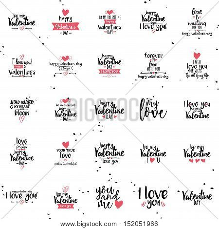 Abstract valentines day labels on a white background